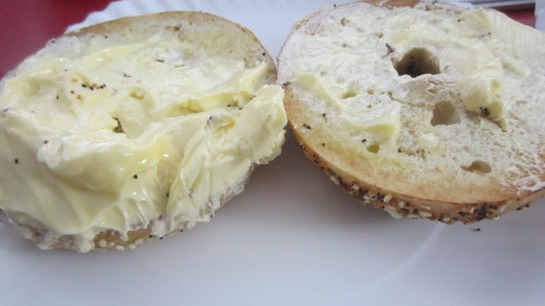 bagel with way too much butter